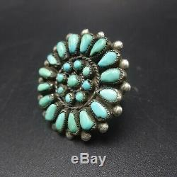 1960 Vintage Navajo Argent Sterling Turquoise Petit Point Taille Cluster Ring 7