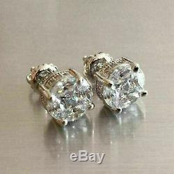 2.00 Ct Round Cut Antique Vintage Vvs1 Diamant Boucles D'oreilles En Or Blanc 14k Plus