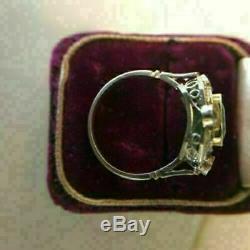 2.0ct Vert Asscher Bague De Fiançailles Diamant Art Déco Vintage 14k Or Blanc Fin