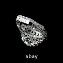 2.1 Ct Diamond Antique Filigre Vintage Deco Bague De Fiançailles 14k Or Blanc Sur