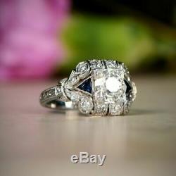 2,15 Ct Round Cut D / Vvs1 Diamant Antique Vintage Sapphire Bague De Fiançailles 5-12