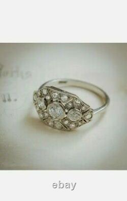 2.1ct Antique Art Déco Rond Diamond Vintage Bague De Fiançailles 14k Blanc Or Sur