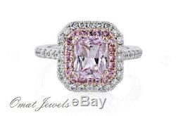 2.28ct Radiant Diamant Diamant Vintage Inspiré Bague De Fiançailles En Or Blanc 14k Sur