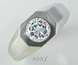 2.35 Ct 14k Or Blanc Over Round Diamond Men's Deco Style Ring Top Vintage