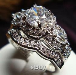 2,40 Ct Diamant Blanc Cru Deux Bagues De Fiançailles En Argent 925 Serti