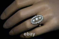 2.5 Ct Vvs1 Diamond 14k Or Blanc Sur Trilogie Vintage Art Déco Bague De Fiançailles