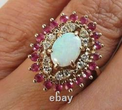 2.50ct Oval Cut Fire Opal & Red Ruby Vintage Cocktail Ring 14k Rose Gold Finish