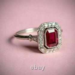 2.73 Ct Art Deco Vintage Rouge Ruby Antique Bague De Fiançailles 925 Argent Sterling