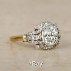 2. Ct Diamant Vintage Edwardian Circa Inspiré De Fiançailles Antique Art Déco Anneau