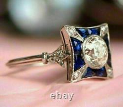 2 Ct Diamond Vintage Antique Retro Wedding Art Déco Ring 14k White Gold Finish