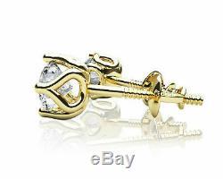2 Ct Round-cut Diamant Vintage Solitaire Boucles D'oreilles En Or Jaune 14k Fini