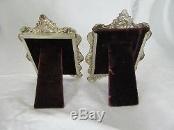 2 Vintage Ornement Gorham Image En Argent Sterling Cadre Repousse Pr Floral Chevalet