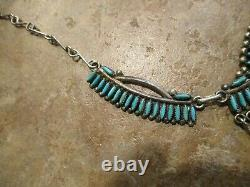 20 Dynamite Vintage Zuni Sterling Silver Petit Point Turquoise Collier
