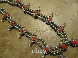 22 Extra Fine Vintage Navajo Sterling Silver Coral Squash Blossom Collier