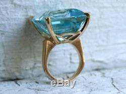 25ct Emerald Cut Aquamarine Vintage Bague De Fiançailles En Or 14k Rose Terminer