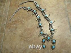 26 Fine Vintage Navajo En Argent Sterling Bleu Turquoise Collier Squash Blossom