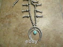 28 Older Vintage Navajo Sterling Argent Turquoise Squash Blossom Collier