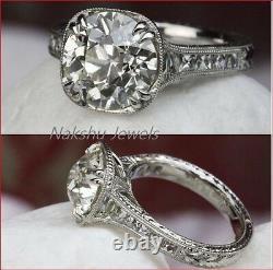 2ct Blanc Rond Moissanite Vintage Engagement Wedding Ring 925 Sterling Argent