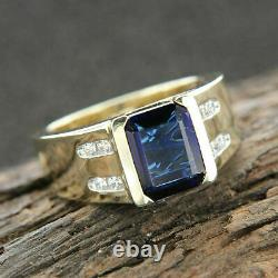 2ct Emerald Cut Blue Sapphire Bague De Fiançailles Classique 14k Or Jaune Over