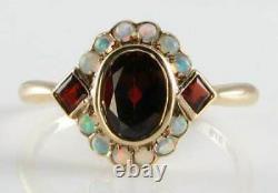 3.50ct Oval Cut Red Garnet & Fire Opal Art Déco Vintage Ring 14k Rose Gold Over