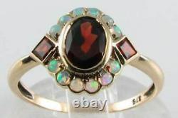3.60ct Oval Cut Red Garnet & Fire Opal Art Déco Vintage Ring 14k Rose Gold Over