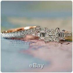 3 Ct Diamant Halo Bande De Mariage Vintage Bague De Fiançailles En Or Blanc 14k Set Terminer