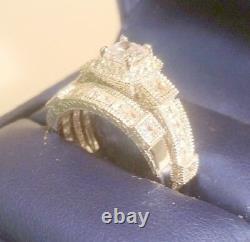 3 Ct Princesse Taille Vintage Diamond Bague De Fiançailles Ensemble De Mariage Or Blanc Ov