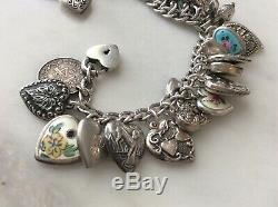 31 Vintage Argent Sterling Puffy Coeurs Charms Bracelet En Émail Lapin W Lampl