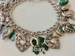 33 Vintage Sterling Silver Émail Shamrocks Puffy Heart Charms Bracelet W Lampl