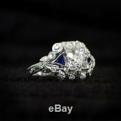 3tc Diamant Rond Victorien Vintage Antique Bague De Fiançailles En Or Blanc 14k Plus