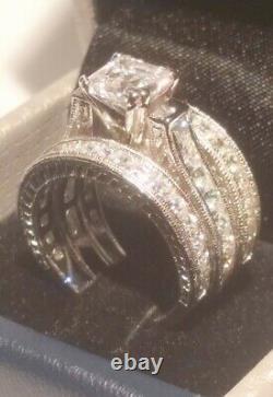 4.00 Ct Princess Diamond Bague De Fiançailles Ensemble Antique White Gold Platinum Finition
