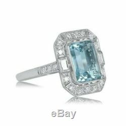 4 Ct Emerald Aquamarine Diamant Vintage D'art Déco Rétro Bague En Or Blanc 14k Plus