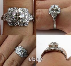 4ct Coupe Ronde Diamant Edwardian Vintage Antique Anneau Femme 14k Or Blanc Finition