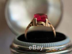4ct Emerald Cut Brillant Ruby Vintage Bague De Fiançailles En Or Rose 14k Fini