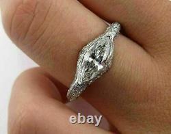4ct Marquise Cut Diamond Vintage Art Déco Bague De Fiançailles 14k Blanc Or Sur