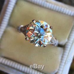 5.25ct Round Cut Diamant En Or Blanc 14k Solitaire Terminer Vintage Bague De Fiançailles