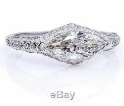 5ct East West Marquise Diamond Cut Vintage Bague De Fiançailles En Or Blanc 14k Plus