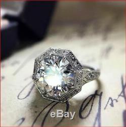 5ct Vintage Antique White Round Toujours Moissanite Halo Bague Argent 925