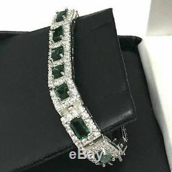 6.50 Ct Vintage Vert Émeraude Diamant Tennis Bracelet En Or Blanc 14k 7,25 Plus