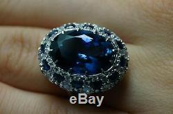 6ct Tanzanite Sapphire Diamant Vintage Halo Bague De Fiançailles En Or Blanc 14k Gp