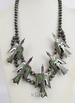 70 Vtg Turquoise Argent Sterling Oiseau Navajo Peyotl Fleur Courge Necklaace