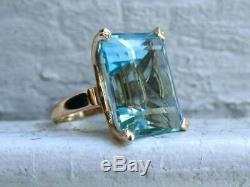 8 Ct Solitaire Emerald Cut Aquamarine Fiançailles Vintage Bague En Or 14k Rose Plus