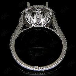 9 MM Round Halo Semi Mont Diamant Vintage Bague De Fiançailles En Or Blanc 14k Plus