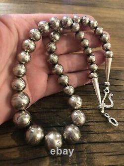 #906 Perles Navajo Estampillées Vintage, Collier Sterling Argent 19 925 Perles
