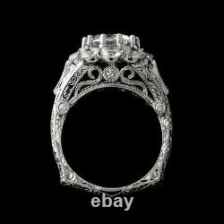 925 Sterling Silver Vintage Art Engagement Early Retro Era Ring 2.1 Ct Diamond