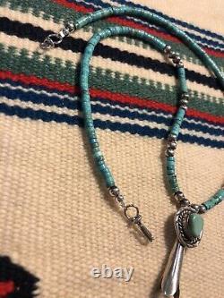 #993 Pendentif Vintage Navajo Squash Blossom, Turquoise Heishi, Sterling Silver