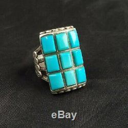 A + Cru Zuni Argent Turquoise Cobblestone Inlay Men's Taille De La Bague 9