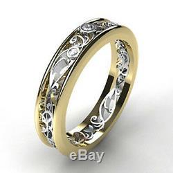 Alliance En Alliage De Diamants Uniques De Style Vintage Avec Finition En Or Deux Tons 14k