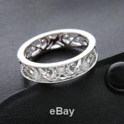 Alliance En Diamant Véritable Filigrane Bague Unique En Dentelle Vintage Or Blanc 14k Fn