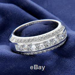 Alliance Pour Homme Vintage Estate En Or Blanc 14 K Avec Diamants Blancs